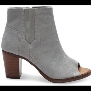 Tom's High Rise Grey Suede Quilted Majorca Peeptoe